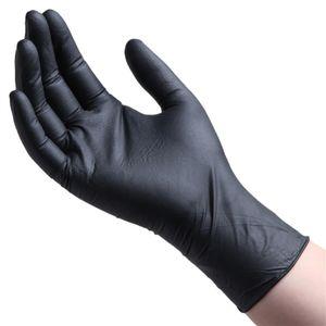 100x Einweghandschuhe Einweg Nitril Handschuhe Handschuhe zur Prophylaxe von Schmierinfektionen, Größe: L, Farbe: Schwarz
