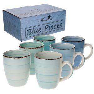 6-tlg. Kaffeebecherset Blue Baita Blautöne 350 ml Porzellan-Tassen rund Trink-Becher Geschirr