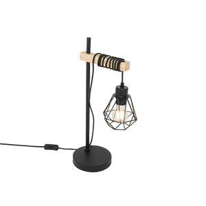 QAZQA - Landhaus | Vintage Land Tischlampe schwarz mit Holz - Chon | Wohnzimmer | Schlafzimmer - Stahl Länglich - LED geeignet E27