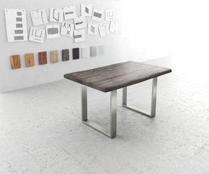Massivholztisch Live-Edge Akazie Platin 140x90 Platte 5cm Gestell schmal Baumtisch