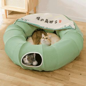 Faltbares Katzentunnelbett mit Kissenmatte und hängendem Kratzball, 126cm lang, grün, Katzenspielzeug Katzentunnel