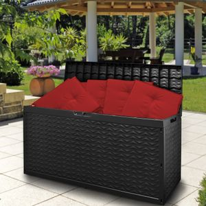 Deuba XXL Auflagenbox Cargo Wasserdicht Rollen Deckel Klappbar Abschließbar 320L Outdoor Gartentruhe Kissenbox Gerätebox