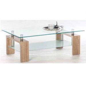 83-212-66 MANGO II Eiche Sonoma Sägerau Nb. Couchtisch Beistelltisch Wohnzimmertisch Glastisch Glasplatte ESG ca. 100 x 46 x 60 cm