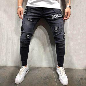Herren Stretch Jeanshose Distressed Ripped Freyed Slim Fit Pocket Jeans Hose Größe:L,Farbe:Schwarz