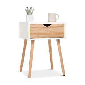 Meerveil Nachttisch mit Schublade, Beistellschrank, Schließfachschrank im skandinavischer Stil, Geeignet für Wohnzimmer, Schlafzimmer, Weiß+Eiche