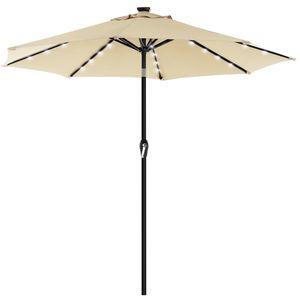 SONGMICS Sonnenschirm mit LED-Solar-Beleuchtung, Gartenschirm Ø 270 cm, UV-Schutz bis UPF 50+, knickbar, mit Kurbel zum Öffnen und Schließen, ohne Ständer, beige GPU040M01