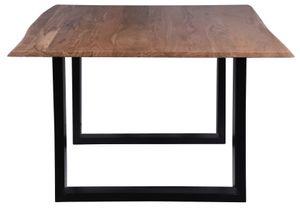 SIT Möbel Tisch aus Akazie mit echter Baumkante, Gestell in antikschwarz|B120 x T120 x H77 cm|07107-69|Serie TISCHE & BÄNKE