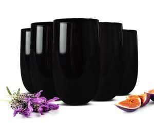 6 Schwarze Trinkgläser 320ml Wassergläser Saftgläser Cocktailgläser Longdrinkgläser