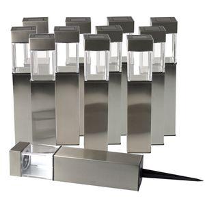 Grundig LED Solarlampen-Set 'Square' Edelstahl 28cm - 4x 3er-Set