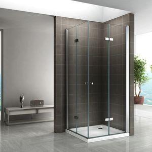 i-flair Duschkabine 80x80 cm, HÖHE: 180 cm, durchsichtige Falttür Eckdusche aus stabilem ESG Sicherheitsglas #99