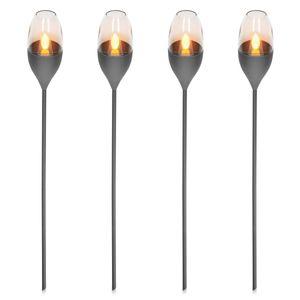 Navaris 4x LED Solar Edelstahl Gartenfackel - 8,5 x 112cm - Garten Fackel Solarleuchten Set - Außen Kerzenschein-Effekt Solarfackel Dunkelgrau