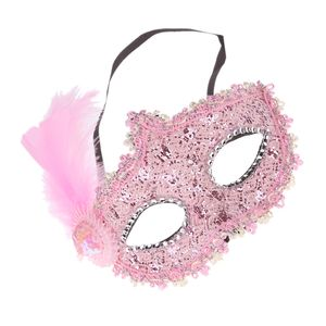Fancy Dress Feather Lace Augenmaske Masquerade Halloween Party Kostüm Pink Rosa Maske mit Feder