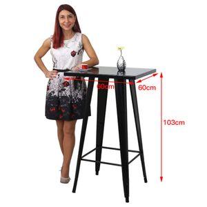 Bartisch Beistelltisch Stehtisch Bistrotisch Gartentisch Schwarz 60*60*103cm schwarz