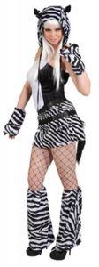 O9747-36-38 schwarz-weiß Damen Zebra Kostüm Kleid Gr.36-38