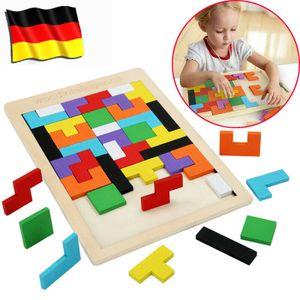 Tetris Tangram Holzpuzzle Lehrspielzeug Spielzeug Geometrie Kinder Lernspiel 40 Stück Holzspielzeug YZ35