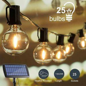 LED Solar Lichterkette 25FT Wasserdicht Glühbirne für Weihnachten Garten Party