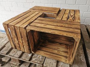 4 x Holzkiste geflammt used 50 x 40 x 30cm - Ideal als Couchtisch oder Deko-