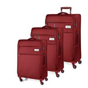 March Kofferset Polo 3-tlg. Red Koffer mit 4 Rollen Weichgepäck