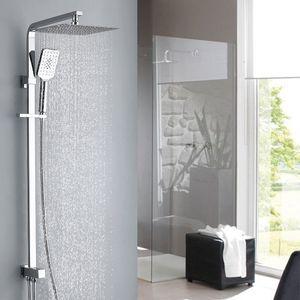 Duschset ohne Armatur 3 -Funktions-Duschsystem mit Duschkopf aus rostfreiem Edelstahl 25x25cm eckig Duschsäule Duschstangeset Duschsäuleset Duschsystem mit Umsteller