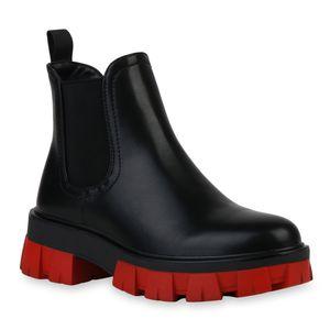 VAN HILL Damen Stiefeletten Plateau Boots Blockabsatz Profil-Sohle Schuhe 836326, Farbe: Schwarz Rot, Größe: 37