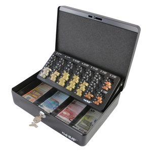 HMF 10015-02 Geldkassette Euro-Münzzählbrett, 30 x 24 x 9 cm, schwarz