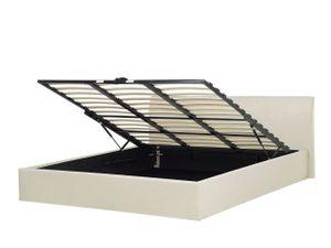 Polsterbett Leinenoptik Beige 180x200 cm mit hochklappbarem Bettkasten Bettgestell Modern