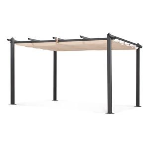 Aluminium-Pergola - Condate 3x4m - Beige Stoff - Laube ideal für Ihre Terrasse, verstellbares Dach, Stoff-Faltdach, Aluminiumgestell