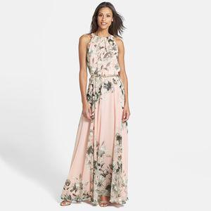 Sexy Frauen Chiffon Kleid Floral Print Rundhalsausschnitt aermellos Party-Strand Boho lange Maxi Kleid Sommerkleid PinkXL