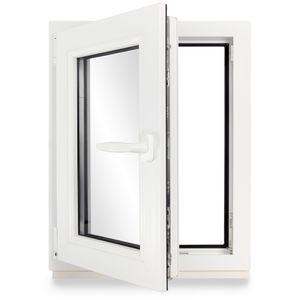 Neruli Kellerfenster Kunststoff Weiß Dreh-Kipp Glasdichtungen Schwarz, 2-fach verglast, DIN Links, 50x60 cm