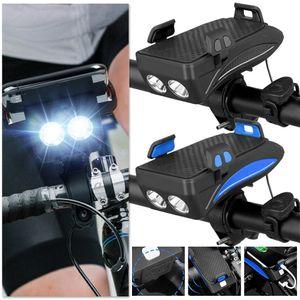 4 in 1 Superhelles LED Fahrradbeleuchtung Fahrradlicht mit Fahrradhupe, Fahrradtelefon-Powerbank, Fahrradhalterung #Schwarz