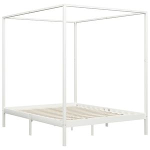 Hommie® Himmelbett-Gestell Bettgestell Bett Bettrahmen Modern Design - Doppelbett Bett für Schlafzimmer Weiß Massivholz Kiefer 180 x 200 cm ❤5557