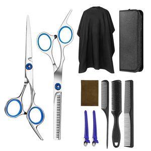 Premium Haarschnitt Set, Haarschere Effilierschere mit Kamm und Friseurumhang