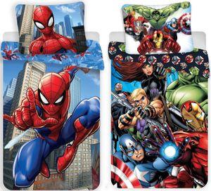 Marvel´s The Avengers & Spiderman - 2 x Wende-Bettwäsche-Set, 135x200 cm & 80x80 cm