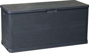 dobar Outdoor Gartentruhe mit 280l Stauraum, große Auflagenbox, 117 x 45 x 56 cm, Kunststoff, Anthrazit
