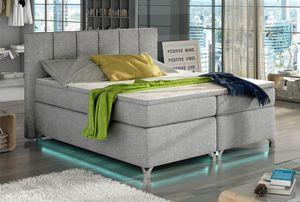 Boxspringbett Polsterbett Bett Bettkasten LED 160x200 Strukturstoff hellgrau