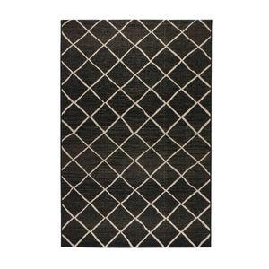 Sisal-Look Flachgewebe Teppich Lux Dia , Farbe:Schwarz/Grau, Größe:160 x 230 cm