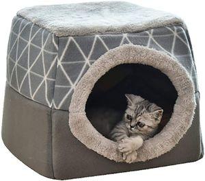Katzenhöhle Katzen Haus Katzenbett Haustier Pet Nest Schlafsack 2 in 1 Faltbar Kuschelhöhle Für Komfortabel(38*38*34cm )