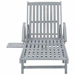 Hommie® Sonnenliege Gartenliege - Strandliege Relaxstuhl Liegestuhl Grau Massivholz Akazie ❤5495