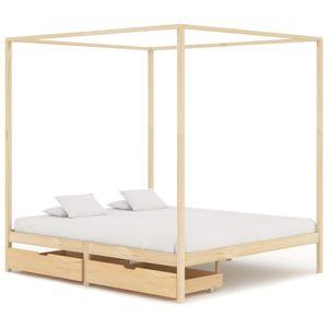 Doppelbett Bett Himmelbett-Gestell mit 2 Schubladen Massivholz Kiefer 180x200cm - klassische betten für Schlafzimmer