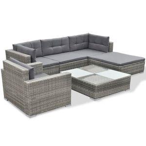 Huicheng 6-tlg. Poly Rattan Garten-Lounge-Set Sitzgruppe Gartenmöbel Sets mit Auflagen Grau