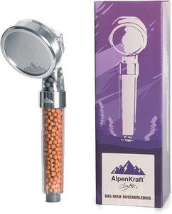 AlpenKraft® - Hochdruck Duschkopf mit Metallringen mehrere einzigartige Strahlarten Massage Regendusche Jet Handbrause Universal Duschbrause Wassersparend Duschköpfe