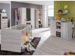 Babyzimmer Cariba 9 teiliges Komplett- Set in Weißeiche und Graphit