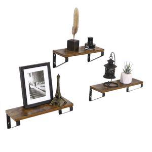 VASAGLE 3er Set Wandregal im Industrie-Design Schweberegal Wandmontage stabiles Regal für Wohnzimmer Badezimmer Küche Vintage LWS33BX