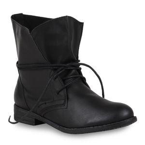 Mytrendshoe Damen Stiefeletten Schnürstiefeletten Boots Basic 95410, Farbe: Schwarz Schwarz, Größe: 39