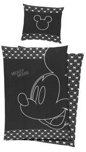 Disney Mickey Mouse Baumwoll-Satin Wende Bettwäsche 135x200cm Silberdruck 2 tlg. Baumwolle