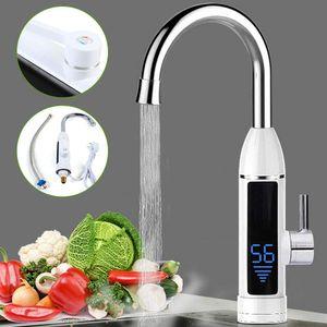 3000W Elektrische Wasserhahn Schnellheizungshahn Armatur Durchlauferhitzer 360° Rotation mit Digitaler Temperaturanzeige