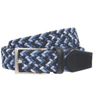 LINDENMANN Gürtel Herren Stretch Ledergürtel aus Textil und Vollrindleder, 32 mm breit und 3,5 mm stark, Gürtel, Flechtgürtel dehnbar, Chino-Gürtel, dunkelblau-blau / marine-beige / blau-rot-grau-weiss, Größe / Size:100, Farbe / Color:rot