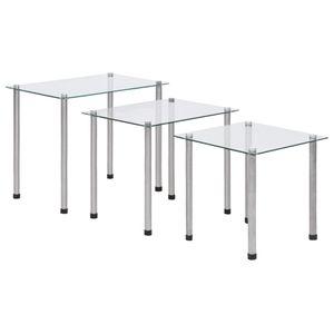 Möbel® Ziertisch Satztische 3-tlg. Transparent Hartglas