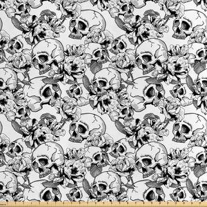 ABAKUHAUS Feier Stoff als Meterware, Skizzieren Sie Totenkopf, Seidiger Satin Stoff für Polster Heimtextilien, 1M (160x100cm), Weiß und Schwarz