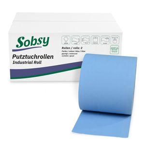 2 x blaue saugstarke Papierrolle, 1000 Blatt, 22x36 cm   2-lagige perforierte Papiertücher   Putztuchrolle für Industrie, Werkstatt und Restaurant   Durchmesser 25 cm
